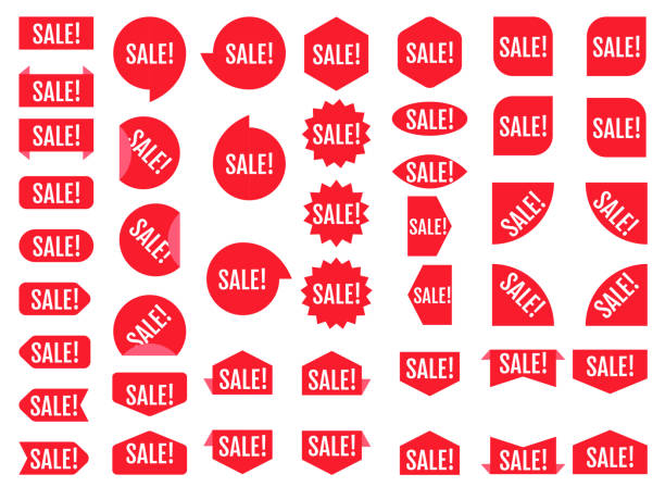 Sale sticker set. Red promotion labels.  Modern vector flat style illustration isolated on white background. Red promotion labels for sale actions. vector art illustration