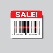 Sale Sticker With Bar Code For Scanning Icon Isolated