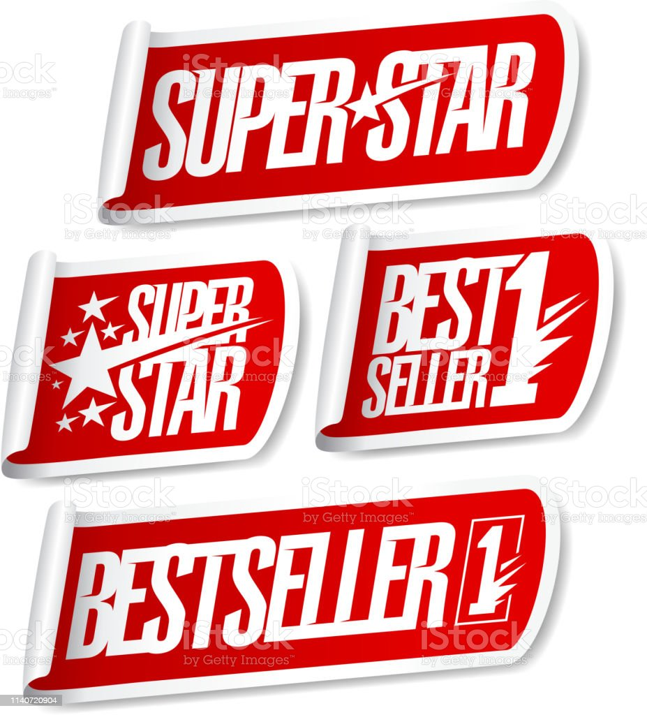 Sale stickers set - super star, best seller, vector collection
