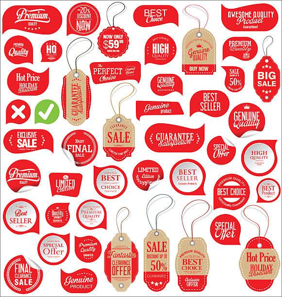 sale stickers tags and labels collection - przywieszka z ceną stock illustrations