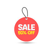 istock Sale Tag and 50% Off Vector Design. 1276663949