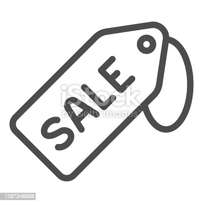 istock Sale tag line icon, Black Friday concept, Price tag sign on white background, Special offer sign in outline style for mobile concept and web design. Vector graphics. 1287346958