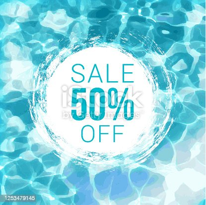 istock Sale Tag on Water Background 1253479145
