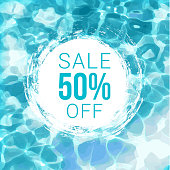 Vector illustration of the summer sale tag on water background