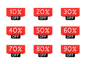 Sale tag set. 10, 20, 30, 40, 50, 60, 70, 80, 90 percent off. Price off and discount tag design elements. Modern vector illustration flat style.