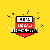 Sale tag. Special offer, big sale, discount, best price, mega sale banner. Shop or online shopping. Sticker, badge coupon store Vector Illustration