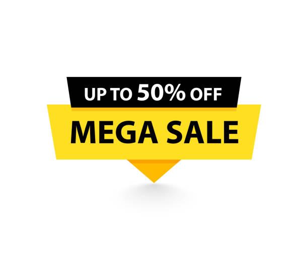satış etiketi. özel teklif, büyük satış, indirim, en iyi fiyat, mega satış afiş. mağaza veya online alışveriş. çıkartma, rozet, kupon, mağaza. vektör illustration. - {{asset.href}} stock illustrations