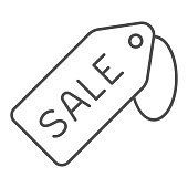istock Sale tag thin line icon, Black Friday concept, Price tag sign on white background, Special offer sign in outline style for mobile concept and web design. Vector graphics. 1287347059