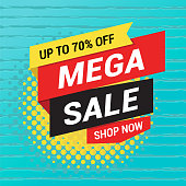 Vector illustration of the sale tag design on the blue background