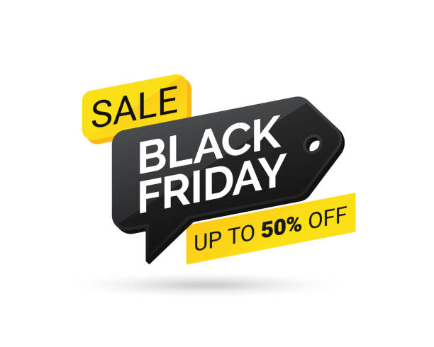 verkaufs-tag mit black friday auf weißem hintergrund. black friday design, label, verkauf, rabatt, werbung, marketing preisschild. vektor-illustration eps 10 - black friday stock-grafiken, -clipart, -cartoons und -symbole