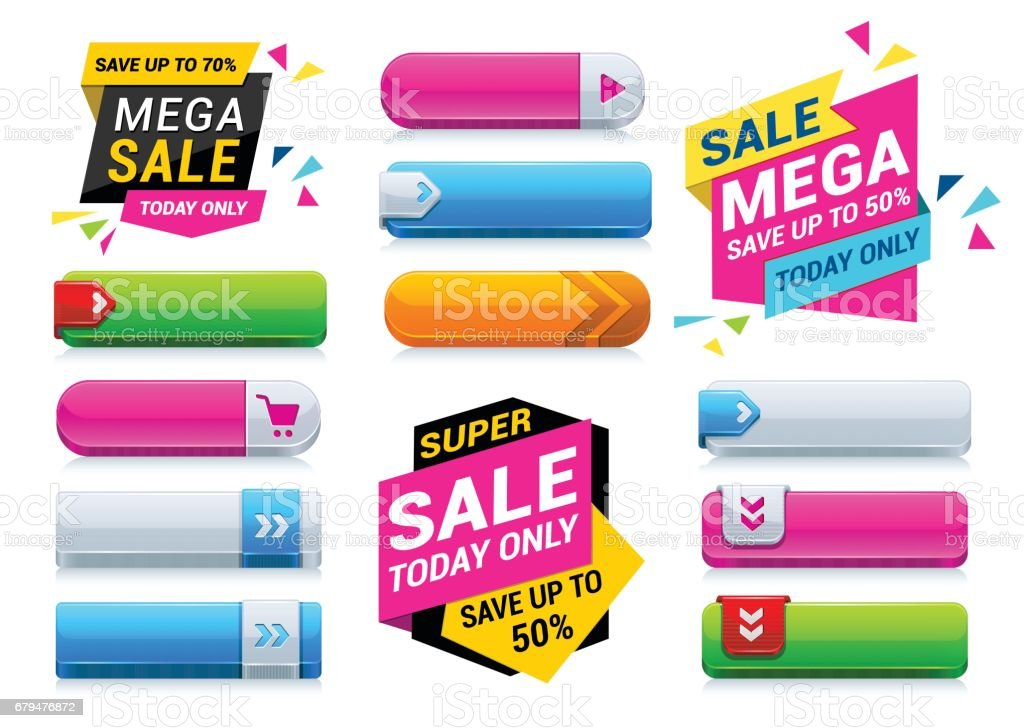 Sale Tags and Web Buttons vector art illustration