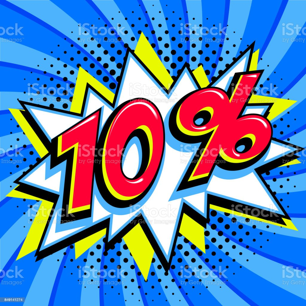 Sale tags collection. 10 ten percent off. Red number with bang shape...