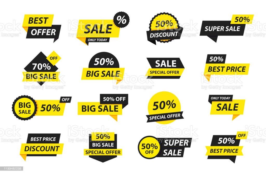 Sale tags collection. Special offer, big sale, discount, best price, mega sale banner set. Shop or online shopping. Sticker, badge, coupon, store. Vector Illustration. - Royalty-free Autocolante arte vetorial
