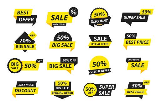 Sale tags collection. Special offer, big sale, discount, best price, mega sale banner set. Shop or online shopping. Sticker, badge, coupon, store. Vector Illustration.