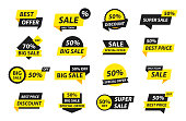 Sale tags collection. Special offer, big sale, discount, best price, mega sale banner set. Shop or online shopping. Sticker, badge, coupon store Vector Illustration