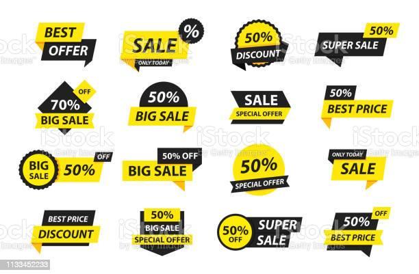 Sale Tags Collection Special Offer Big Sale Discount Best Price Mega Sale Banner Set Shop Or Online Shopping Sticker Badge Coupon Store Vector Illustration - Arte vetorial de stock e mais imagens de Autocolante