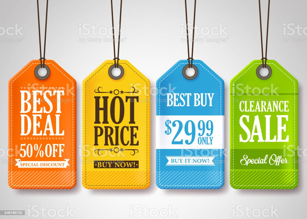 Sale Tags Design Collection Hanging with Different Colors vector art illustration