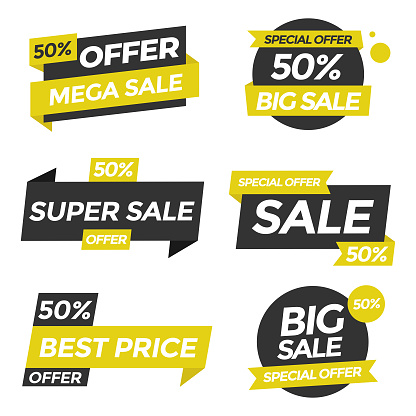 Sale Tags Icon Set. Special Offer, Big Sale, Discount, Vector Design. Store, Online Shopping Flat Design on White Background.