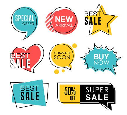 Sale Tags in Speech Bubbles Design