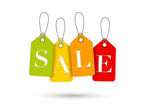 Sale tags on white background