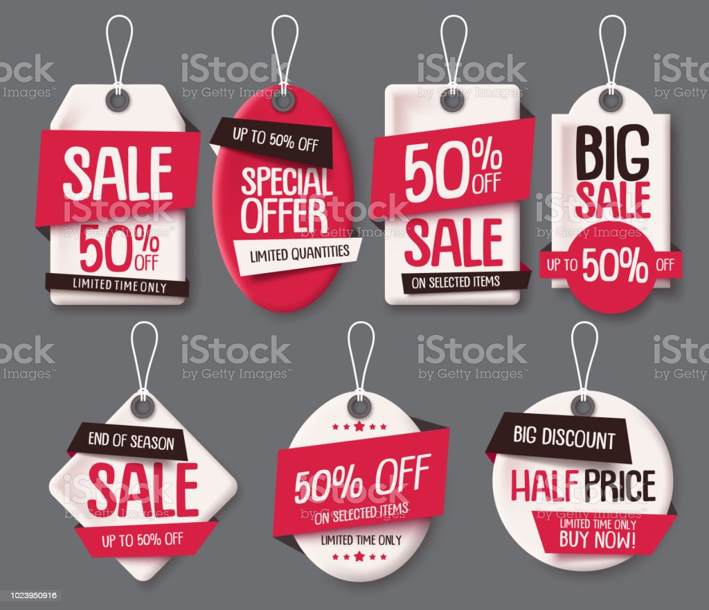 sale tags paper cut template vector set price tags label with sale