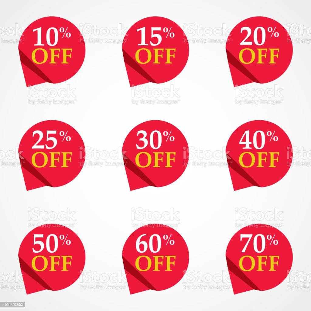 販売タグ設定ベクトル バッジ テンプレート10 から 15 パーセント