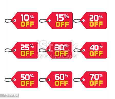 Sale tags set vector badges template, 10 off, 15, 20, 25, 30, 40, 50, 60, 70 percent sale label symbols, discount promotion flat icon with long shadow, clearance sale sticker emblem isolated