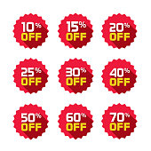 Sale tags set vector badges template, 10 off, 15, 20, 25, 30, 40, 50, 60, 70 percent sale label symbols, discount promotion flat icon with long shadow, clearance sale sticker emblem red rosette