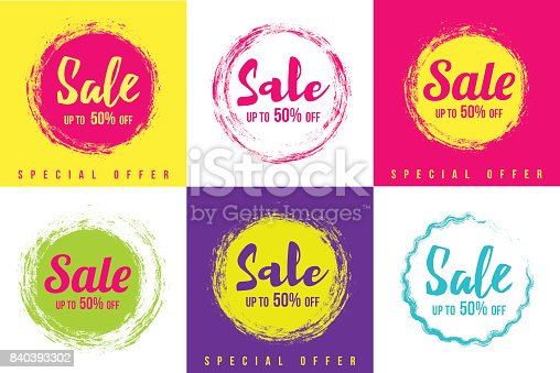 Vector illustration of the sale tag elements, discount label.