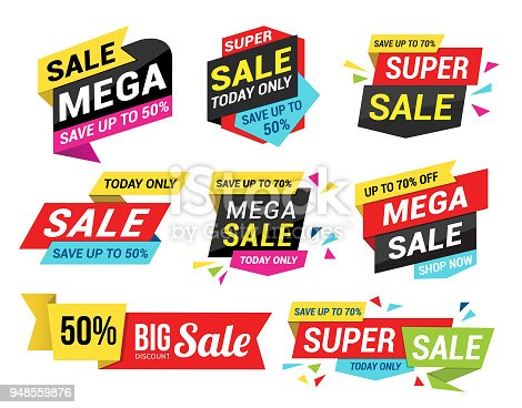 Vector illustration of the sale tags set.