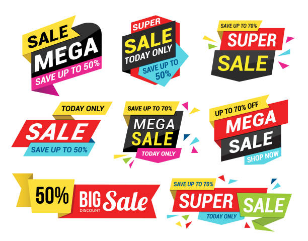 Sale Tags Vector illustration of the sale tags set. black friday sale background stock illustrations