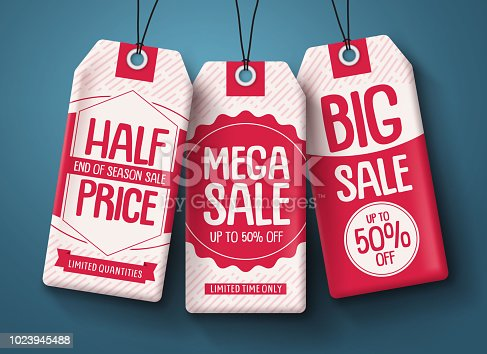 Sale tags vector set. White paper price tags with mega sale and discount text in red hanging for end of season retail shopping promotion. Vector illustration.