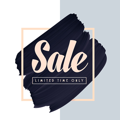 Sale text on black paint brush smear vector background.