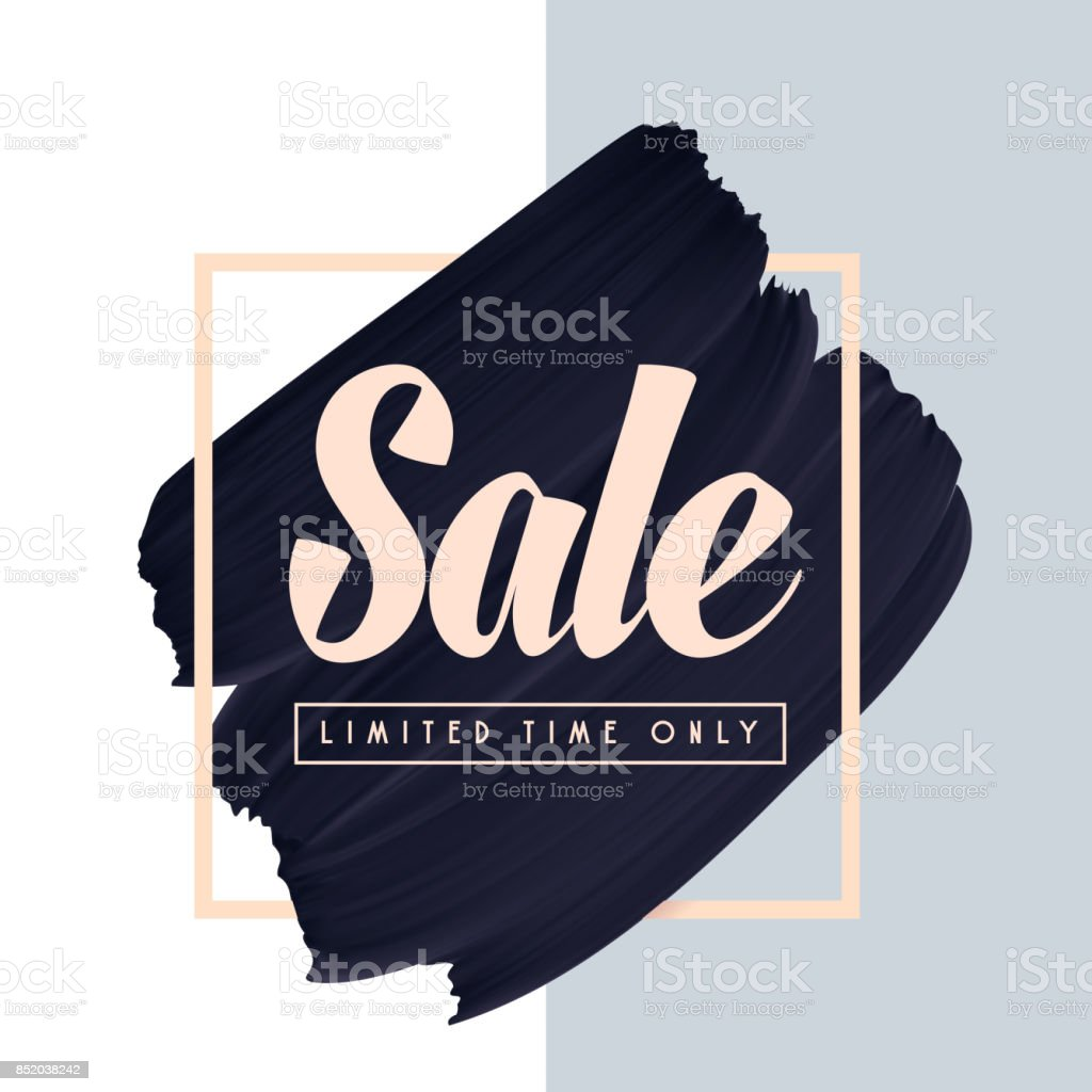 Sale text on black paint brush smear vector background. vector art illustration