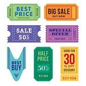 Sale tickets vector set. - Illustration