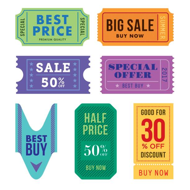sale tickets vector set - coupon stock illustrations, clip art, cartoons, & icons