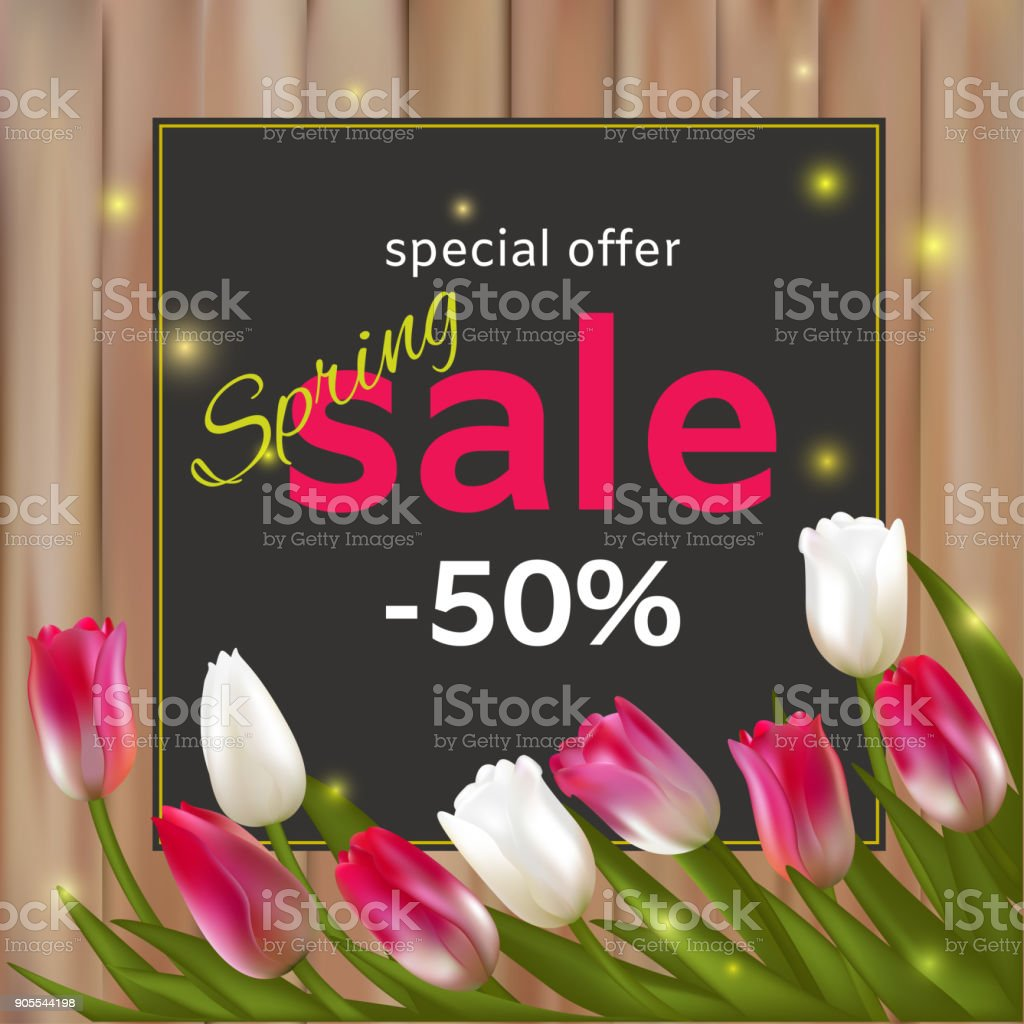 Sale tulips discounts spring flowers wreath floral background vector sale tulips discounts spring flowers wreath floral background vector illustration mightylinksfo