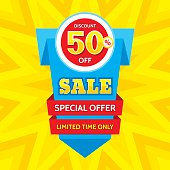 Sale vector banner - discount 50% off. Special offer origami layout. Limited time only! Sale banner design. Sale layout. Sale background. Sale poster. Discount layout. Sale flyer. Sale sticker.