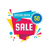 Sale - vector creative banner illustration. Abstract concept discount up to 50% promotion layout on white background. Special offer sticker in origami style. Design elements.