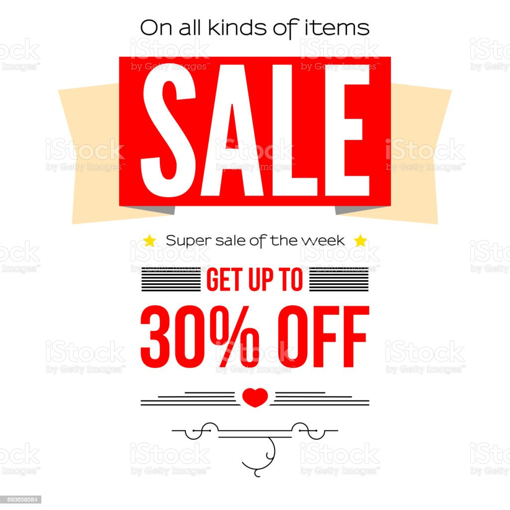 Sale vintage text banner. Ready to print and use in advertising of products and the best deals composition. Selling banner on a white background with thirty percent discount vector art illustration