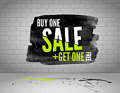 Vector half price sale watercolor banner with splashes of ink on white brick grunge background