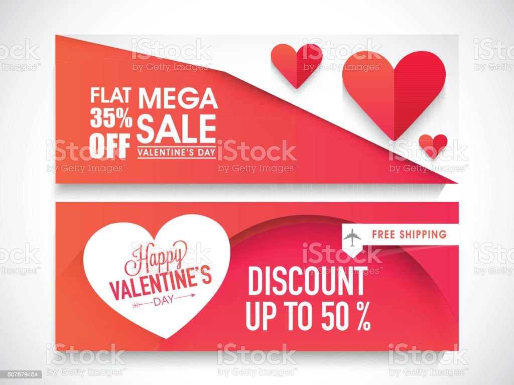 Sale web header or banner for Valentine's Day.