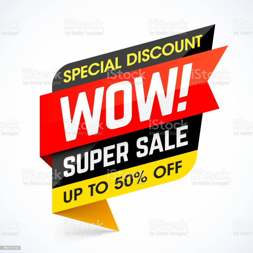 Weekend Discount: Wow Sale Weekend Special Discount Banner Stock Vector Art