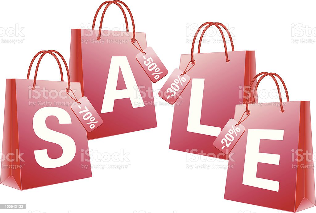 sale with red shopping bags royalty-free stock vector art