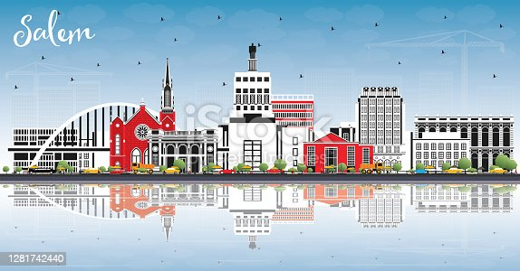 istock Salem Oregon City Skyline with Color Buildings, Blue Sky and Reflections. 1281742440