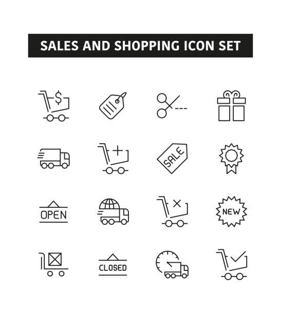 ilustrações, clipart, desenhos animados e ícones de vendas e compras linha ícone definido - tag