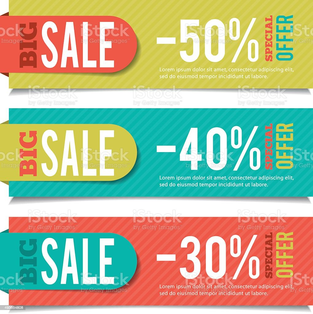 Sales banners for advertising and marketing events. vector art illustration