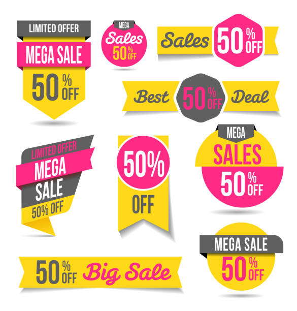 sales banners - labels - single object stock illustrations