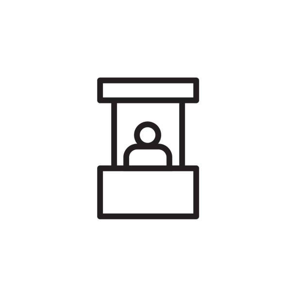 verkaufsstand symbol vektor-illustration, eps10 - ausstellungstische stock-grafiken, -clipart, -cartoons und -symbole