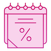 Sales calendar flat icon. Data discount pink icons in trendy flat style. Agenda gradient style design, designed for web and app. Eps 10